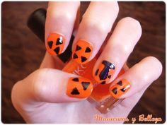 Nail art The Flintstones orange // Manicura Los Picapiedra en naranja