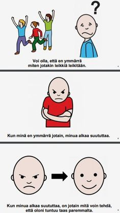 Miten hallita tunteitaan koulussa kun suututtaa ettei esim. ymmärrä tehtävää tai miten jotain leikkiä leikitään yhdessä. Child Development Psychology, Social Stories, Daddy, Family Guy, Language, Teacher, Comics, Children, School
