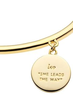 our zodiac-themed in the stars collection features gold-plated bangles with pave-and-enamel charms, each one inspired by a different star sign. buy one for yourself (it'll mix beautifully with other b I really hope my daughter is born a Leo Leo Quotes, Zodiac Quotes, Leo Girl, Leo Horoscope, Leo Love, Zodiac Signs Leo, Zodiac Jewelry, Gold Plated Bangles, Leo Facts