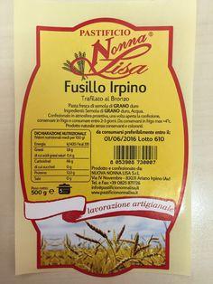 #EtichettaAlimentare per #Pasta #Nonna Lisa #Graphic #Design #Avellino #Italy