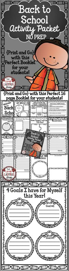 Back To School Activity Packet {NO PREP} | Back To School | No Prep | First Day of School | Beginning of Year Activities This Back to School activity packet is perfect for your students in ANY GRADE as they start back to school! The first few days of school are so hectic, why not make your time valuable and manageable! 16 Page Toolkit perfect for YOU! CLICK to GET yours!