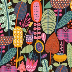 Floral Illustration via Helen Dardik of Orange You Lucky! Motifs Textiles, Textile Patterns, Flower Patterns, Print Patterns, Doodle Patterns, Summer Patterns, Graphic Patterns, Graphic Design, Illustration Blume