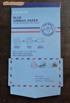 Thin blue airmail paper Fold & Mail stationery.