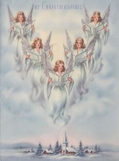Vintage Greeting Card Christmas Choir of Angels r569