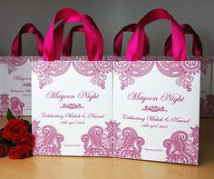 30 Mehndi Night gift bags with Pink satin ribbon & your names Personalized Mayoon Night gifts Mehendi Henna Sangeet Indian Wedding favors
