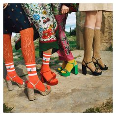 Designed by a lineup of new platform sandals worn with contrasting socks and lace tights. Discover more through link… High Heels Black, High Heels Boots, Socks And Sandals, Heels With Socks, Fashion Socks, 70s Fashion, Fashion Outfits, Heels Outfits, Sandals Outfit