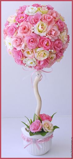 """Купить Топиарий """"Нежность"""" - розовый, топиарий, топиарий дерево счастья, Топиарии, топиарий из цветов"""
