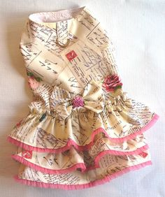 DOG Harness Dress 3 Layer Cake Ruffled Puppy dress Cat clothes. $30.00, via Etsy.