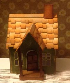 Tim Holtz village dwelling. core-dinations card. Distress inks. Rooftops shingles