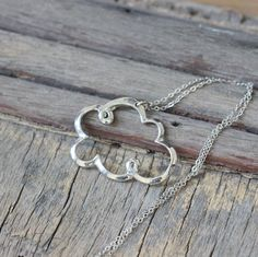 antique silver Rain Cloud Necklace Everyday Wear Necklace