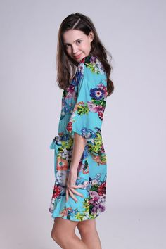 Blue Bathrobes for bridesmaid floral bridal party by ForBride