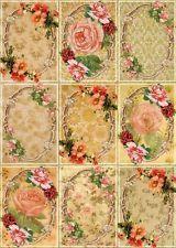 9 FLOWER ROSES - FLORAL VINTAGE 155 lb LAMINA SCRAPBOOK PAPER CRAFTING CARD TAGS