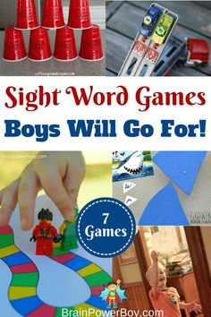 Awesome sight word games for boys who are just beginning to learn to read. See these fun ideas for learning Dolch sight words. Sharks, LEGO, Cars and more. Games For Boys, Activities For Boys, Sight Word Activities, Preschool Activities, Elderly Activities, Dementia Activities, Physical Activities, Physical Education, Health Education
