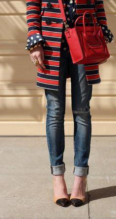 Celine Luggage Handbag Mini 20CM in Red...love the jacket