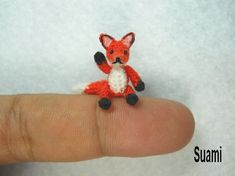 Mini Red Fox Amigurumi - Micro Dollhouse Miniature Crochet Tiny Foxes - Made To Order on Etsy, $52.00