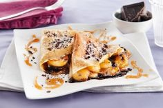 Crêpes con Banane flambè, cioccolato fondente e cocco