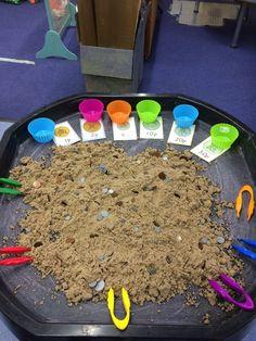 Sorting coins in the sand using tweezers. Sorting coins in the sand using tweezers. Maths Eyfs, Numeracy Activities, Money Activities, Eyfs Classroom, Nursery Activities, Motor Skills Activities, Kindergarten Math, Toddler Activities, Preschool Activities