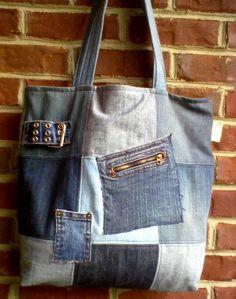 Denim+tote+bag+made+from+repurposed+denim+jeans++by+ripnrollrugs