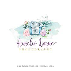 Premade Logo  Watercolor logo  camera logo  photography