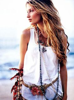 Sexy Bohemian white mini dress and modern hippie vest with layered necklaces for a festival love everything down to the turtle necklace gypsy style. Description from pinterest.com. I searched for this on bing.com/images