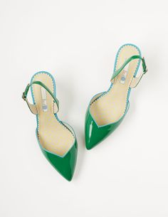 62489dbc28a Millie Slingback - sleek pointy-toe heels in ivy green with capri blue  accent - so bright and happy