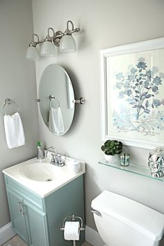 grey and blue for guest bath