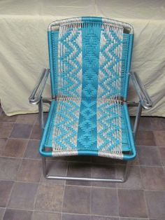 Macrame lawn chair, recycled frames, woven lawn chairs ...
