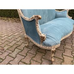 Unusual Furniture, Antique French Furniture, French Country Furniture, Antique Sofa, Cool Furniture, Furniture Ideas, Velvet Furniture, Furniture Upholstery, New Blue