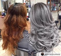 Then washed dried, theni did full head foil balayage with wella blondor Frosted Hair, Gray Hair Highlights, Curly Hair Styles, Natural Hair Styles, Silver Grey Hair, Ombre Hair Color, Great Hair, Hair Dos, Dyed Hair