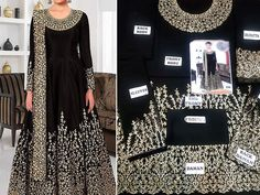 Designer Indian Embroidered Black Chiffon Maxi Dress For more details and real pictures visit: PakStyle. Wedding Dress Chiffon, Black Wedding Dresses, Chiffon Maxi Dress, Pakistani Maxi Dresses, Luxury Clothing Brands, Fancy Suit, Embroidery Suits, Computer Backgrounds, Party Dresses