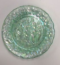 Imprial Green Carnival Glass 12 Days of Christmas Collector Plate Lenox