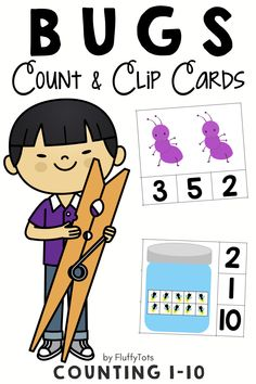 My kids love Count and Clip cards activities.  She never has enough, so I created this Bugs count and clip cards for her.  There are over 100 clip cards in this pack.  Your kids would love each one of them!  Perfect for reviewing counting number 1-10. Great for independent activities.