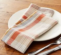 My new pumpkin plaid Thanksgiving napkins from the Pottery Barn