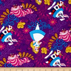 Disney Alice in Wonderland Alice & Friends Purple from @fabricdotcom  Designed by Disney and licensed to Springs Creative Products, this cotton print fabric is perfect for quilting, apparel and home decor accents. Colors include black, dark teal, yellow, white, shades of purple, shades of grey, and shades of red. Due to licensing restrictions, this item can only be shipped to USA, Puerto Rico, and Canada.