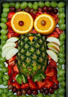 Owl fruit tray we made for Sids baby shower.