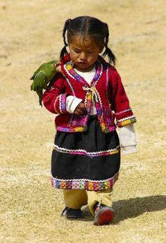 Colorful girl with pet bird