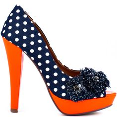 Carnival - Navy Not Rated Navy & Orange heels Shoes Flats Sandals, Fab Shoes, Crazy Shoes, Me Too Shoes, Shoe Boots, Navy Heels, Orange Heels, White Heels, Polka Dot Heels