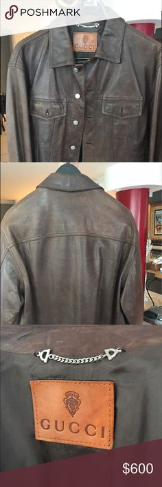 Vintage Gucci brown leather bomber jacket! Purchase this sexy chocolate brown Gucci bomber style jacket . Size L/52. Like new, very light wear! Great patina! Will accept reasonable offers. Please send a message if you have any questions prior to bidding. Thanks Gucci Jackets & Coats Bomber & Varsity