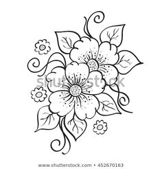 Illustration of Abstract hand drawn flowers, sketch, stencil. vector art, clipart and stock vectors. Flower Art Drawing, Flower Sketches, Floral Drawing, Flower Coloring Pages, Mandala Coloring, Coloring Book Pages, Embroidery Flowers Pattern, Hand Embroidery Designs, Flower Patterns