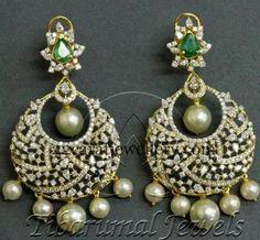 Tibarumal Chandbali and Diamond Pendant | Jewellery Designs