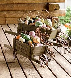 Decorative Solid Wood Wheelbarrow Planters with Functional Wheels
