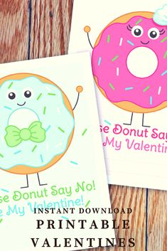 Instant Download, Donut Valentine Printable Cards, Doughnut Valentines, Boy and Girl Donut, Classroom Valentine, Card Template, Please Donut Say No Valentines #ad