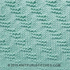 This pattern stitch is reversible and created only with simple knit and purl stitches. The garter stitches run diagonally in the other direction on the wrong side against a background of reverse stockinette.
