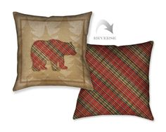 Country Cabin Bear Plaid Decorative Pillow – Laural Home