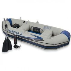 Intex Mariner 3 Boat Set, Grey $ 193.00      Two fishing rod holders and inflatable thwart seats     Motor mount fittings and oar holders     1 gear pouch and 1 battery pouch     Two Boston valves on main hull chamber for quick fill, fast deflate     All around grab line and rub strake