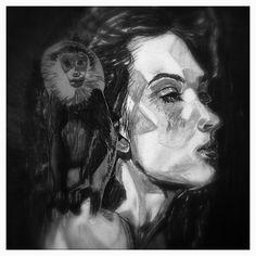 #Monkey on my shoulder #Houtskool #houtskooltekening #charcoal #charcoalart #charcoals #TekenKunst #DrawingArt