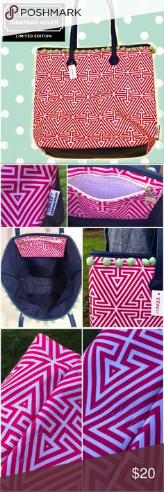 """Pink Geometric Tote Clinique collab w/Jonathan Adler - beautiful limited edition pink & white geometric tote bag. Navy blue PVC trim & handles, mint green pom-poms. Perfect for summer; use it as a beach bag or just every day it's sunny!   Never used & in good shape. It does have a few tiny holes on each of the sides from being kept in storage, but they are NOT visible when worn.  •• measurements •• Width: 17""""// Height: 15""""// Depth: 5""""// Drop: 11"""" Bags Totes"""