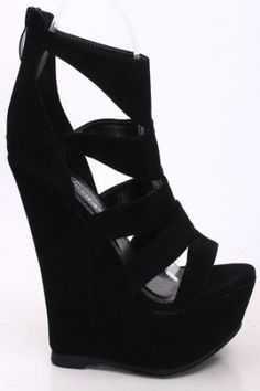 BLACK FAUX SUEDE CUTOUT OPEN TOE ZIPPER WEDGES