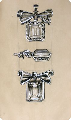 Jewelry Sketch by Elena Limkina. Brooch. Ink Drawing.