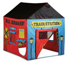 Pacific Play Tents Kids Train Station House Tent Playhouse for Indoor / Outdoor Fun - x x Childrens Play Tents, Kids Tents, House Tent, Tent Poles, Train Party, Children Images, Outdoor Play, Boutique, Train Station